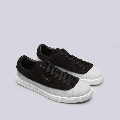 мужские чёрные, серые  кроссовки puma suede classic x stampd 36632701 - цена, описание, фото 3