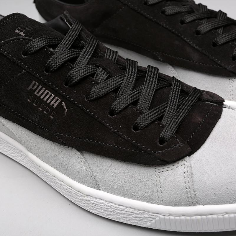 мужские чёрные, серые  кроссовки puma suede classic x stampd 36632701 - цена, описание, фото 5