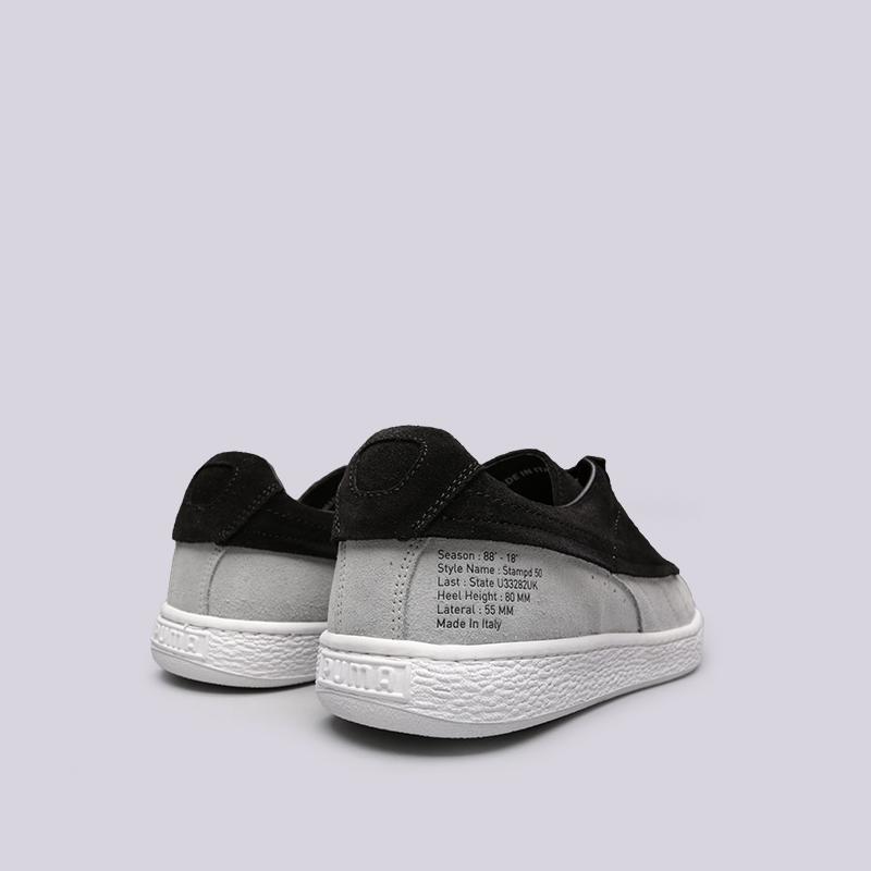 мужские чёрные, серые  кроссовки puma suede classic x stampd 36632701 - цена, описание, фото 4
