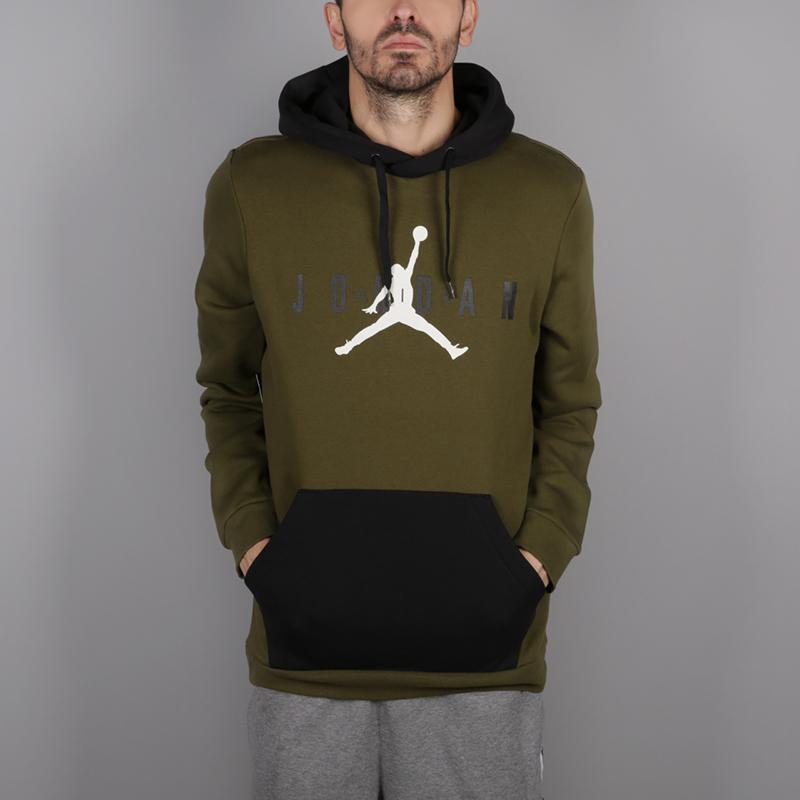 мужскую зелёную  толстовка jordan jumpman air fleece AA1451-395 - цена, описание, фото 1