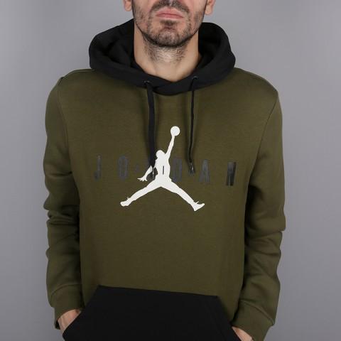 мужскую зелёную  толстовка jordan jumpman air fleece AA1451-395 - цена, описание, фото 4