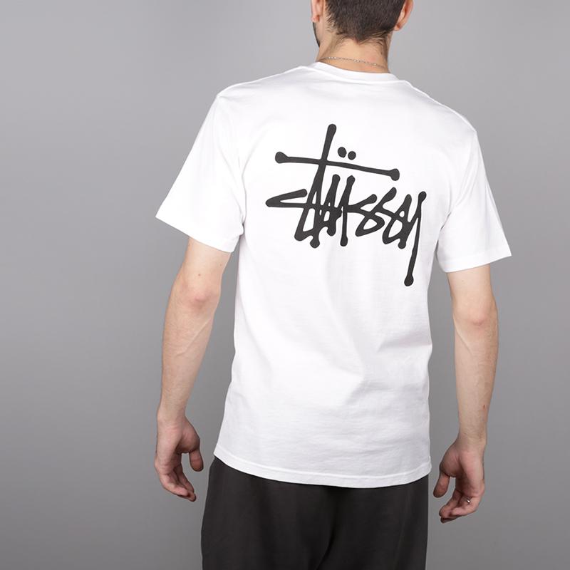 мужскую белую  футболка stussy basic stussy tee 1904257-white - цена, описание, фото 4