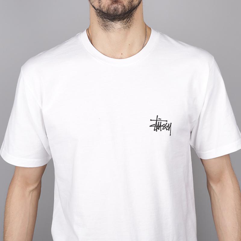 мужскую белую  футболка stussy basic stussy tee 1904257-white - цена, описание, фото 2