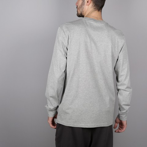 мужской серый  лонгслив carhartt wip base I026265-grey/blk - цена, описание, фото 3