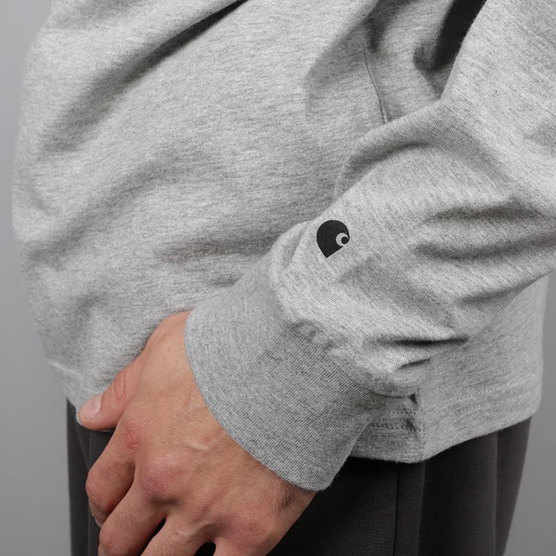 мужской серый  лонгслив carhartt wip base I026265-grey/blk - цена, описание, фото 4