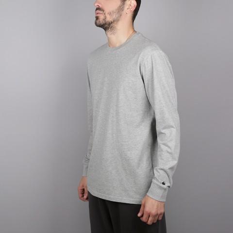 мужской серый  лонгслив carhartt wip base I026265-grey/blk - цена, описание, фото 2