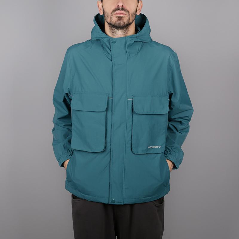 мужскую синюю  куртку stussy big pocket shell 115413-teal - цена, описание, фото 1