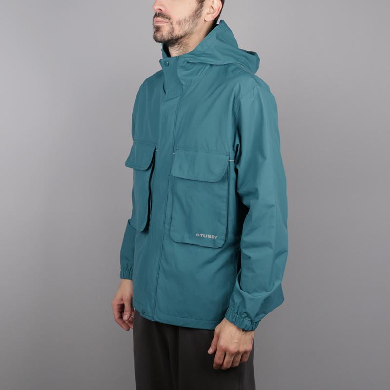 мужскую синюю  куртку stussy big pocket shell 115413-teal - цена, описание, фото 2