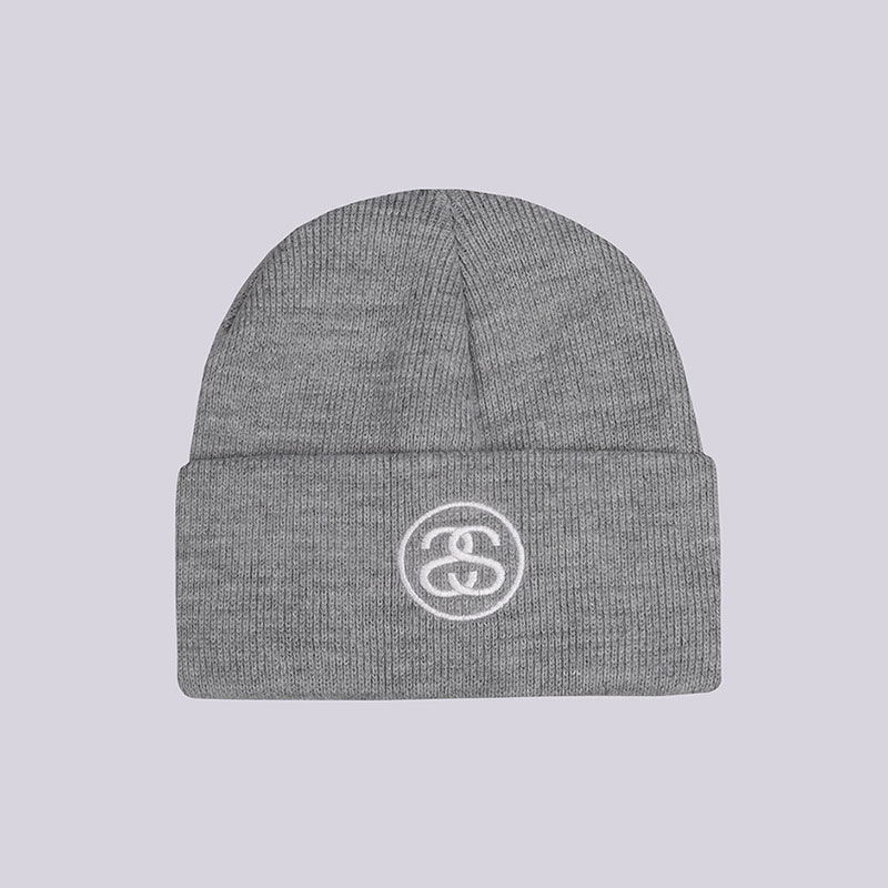серую  шапка stussy ss-link cuff beanie 132896-grey heather - цена, описание, фото 1
