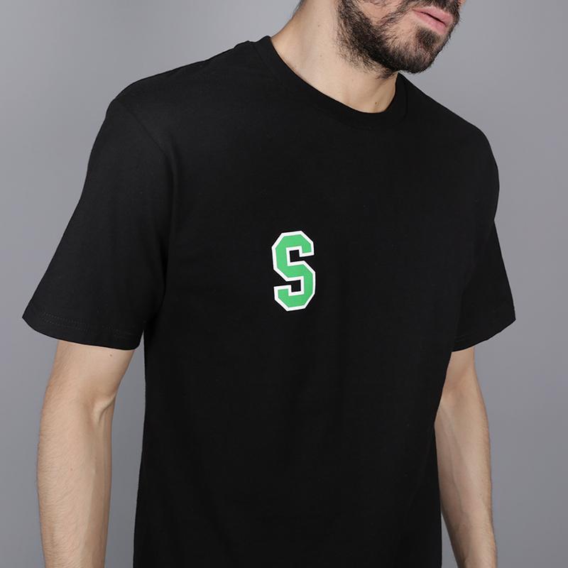 мужскую чёрную  футболка stussy college arc tee 1904260-black - цена, описание, фото 2