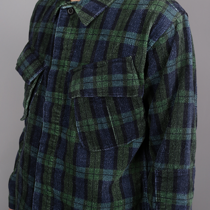 мужскую синюю, зелёную  рубашку stussy velveteen jungle 1110005-plaid - цена, описание, фото 3