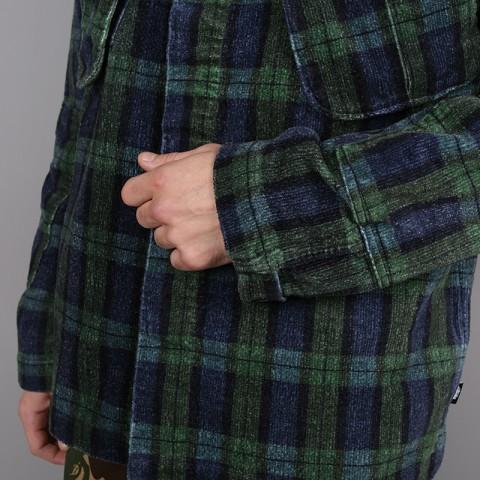 мужскую синюю, зелёную  рубашку stussy velveteen jungle 1110005-plaid - цена, описание, фото 4