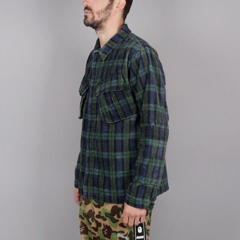 мужскую синюю, зелёную  рубашку stussy velveteen jungle 1110005-plaid - цена, описание, фото 2