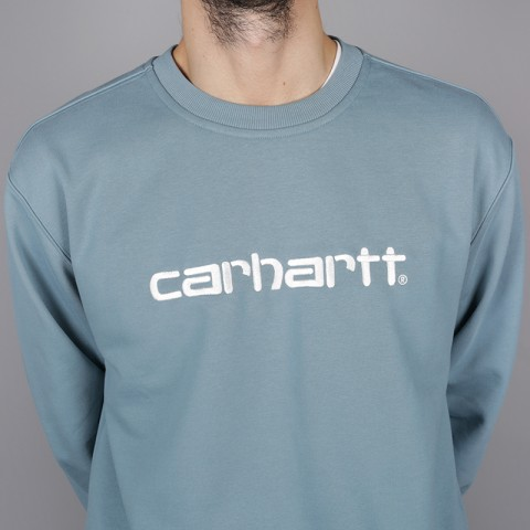 мужскую голубую  толстовка carhartt wip logo sweat i024679-dusty-blue - цена, описание, фото 2