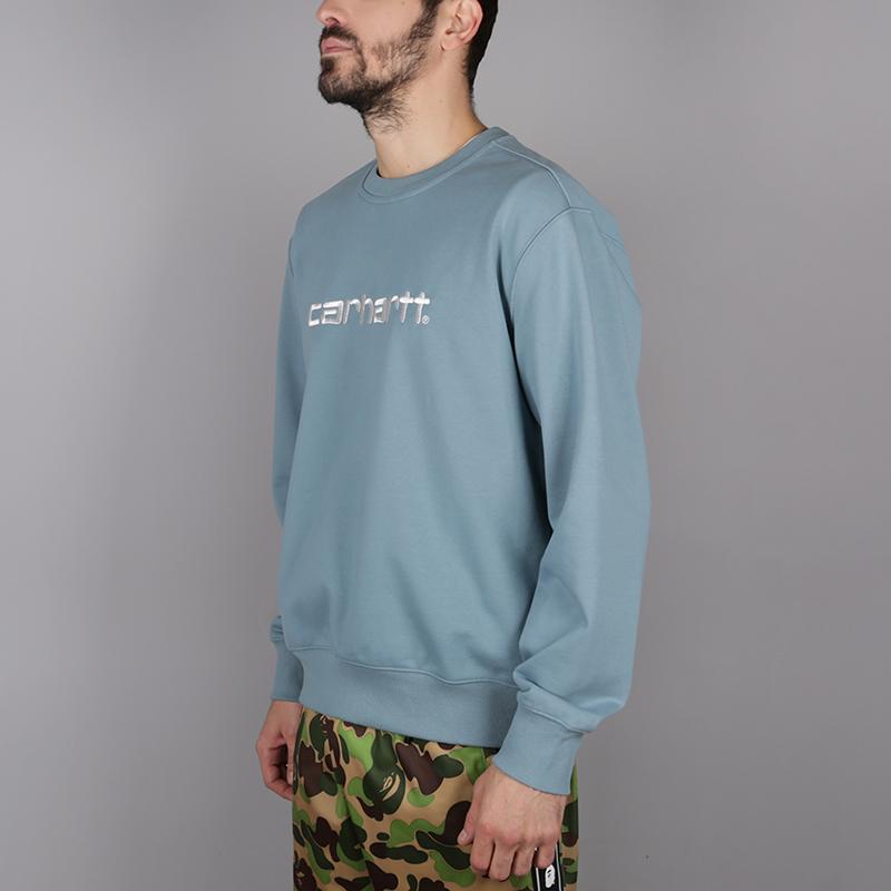 мужскую голубую  толстовка carhartt wip logo sweat i024679-dusty-blue - цена, описание, фото 3
