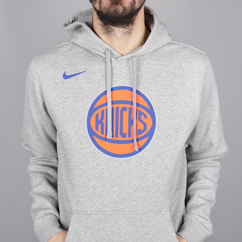 мужскую серую  толстовка nike new york knicks hoodie AA3683-063 - цена, описание, фото 2