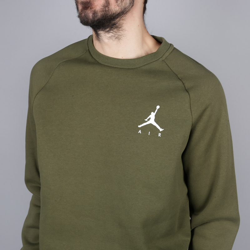 мужскую зелёную  толстовка jordan jumpman air fleece crew 940170-395 - цена, описание, фото 2