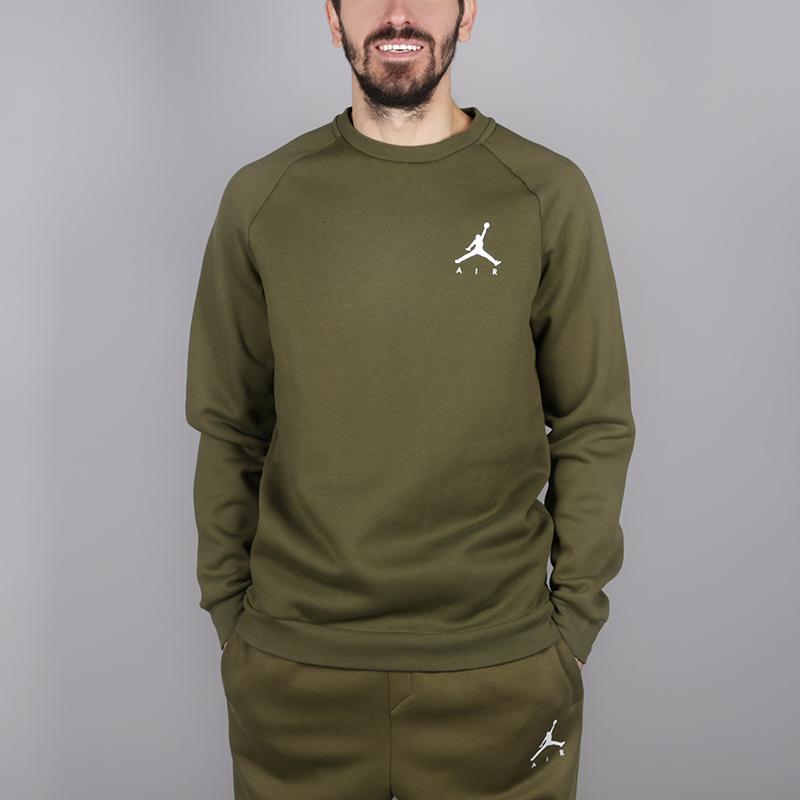 мужскую зелёную  толстовка jordan jumpman air fleece crew 940170-395 - цена, описание, фото 1