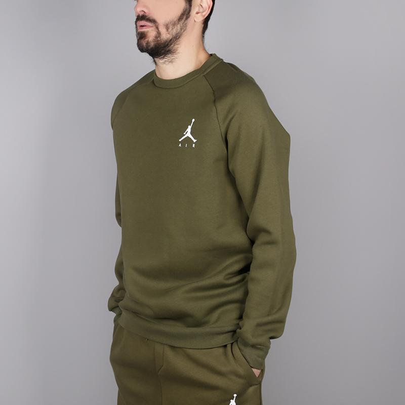мужскую зелёную  толстовка jordan jumpman air fleece crew 940170-395 - цена, описание, фото 3