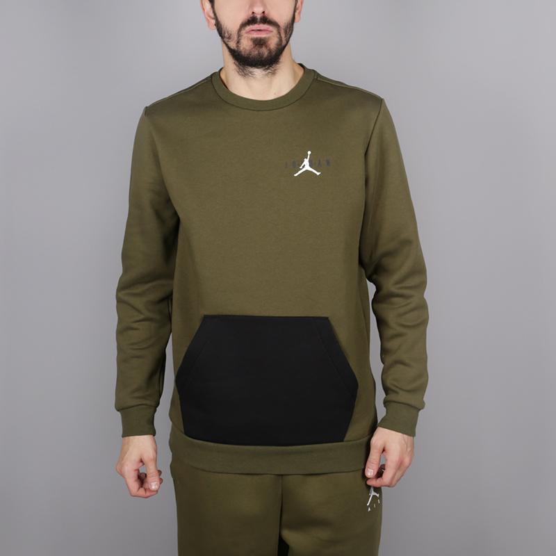 мужскую зелёную  толстовка jordan jumpman air fleece crew AA1457-395 - цена, описание, фото 1