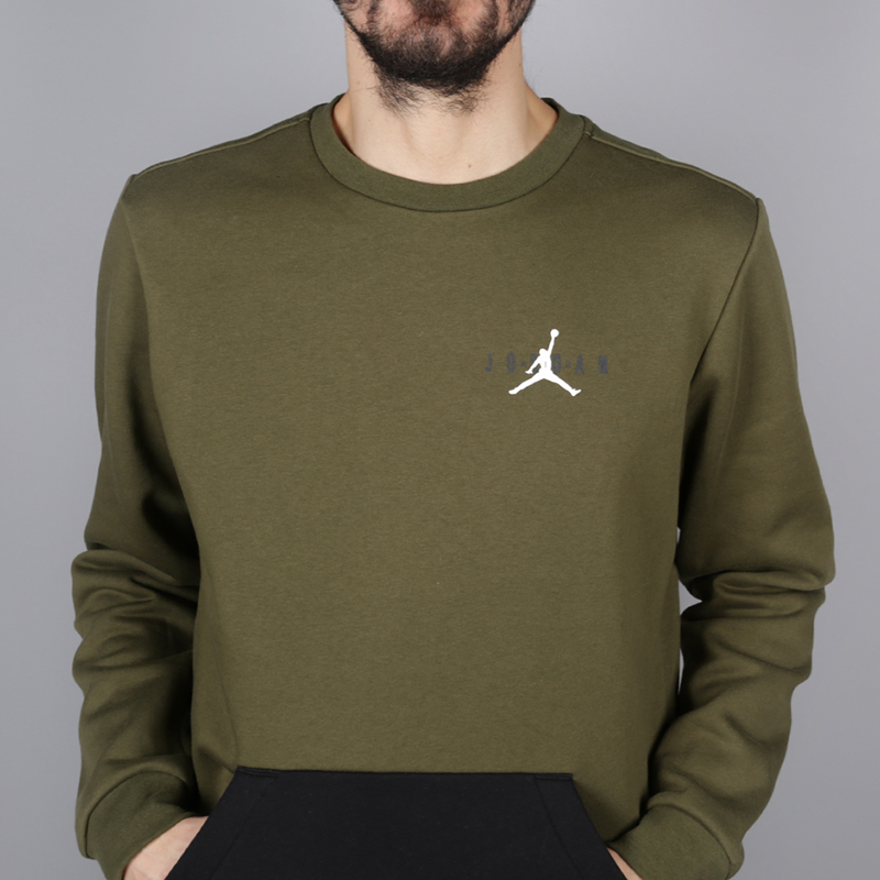мужскую зелёную  толстовка jordan jumpman air fleece crew AA1457-395 - цена, описание, фото 2