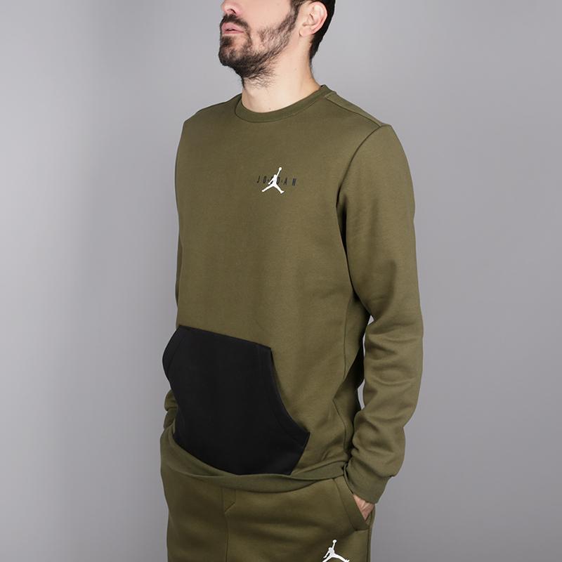 мужскую зелёную  толстовка jordan jumpman air fleece crew AA1457-395 - цена, описание, фото 3
