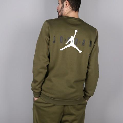 мужскую зелёную  толстовка jordan jumpman air fleece crew AA1457-395 - цена, описание, фото 4