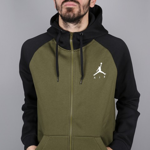 мужскую зелёную  толстовка jordan jumpman fullzip fleece 939998-396 - цена, описание, фото 2
