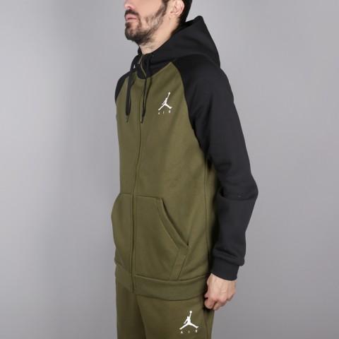 мужскую зелёную  толстовка jordan jumpman fullzip fleece 939998-396 - цена, описание, фото 3