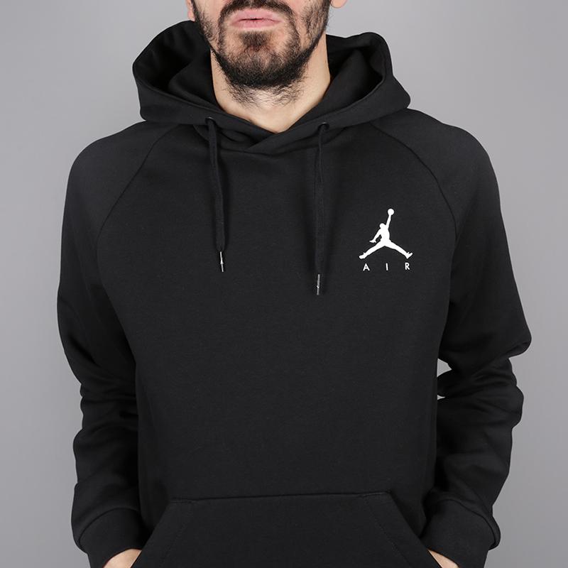 мужскую чёрную  толстовка jordan jumpman fleece pullover 940108-010 - цена, описание, фото 2