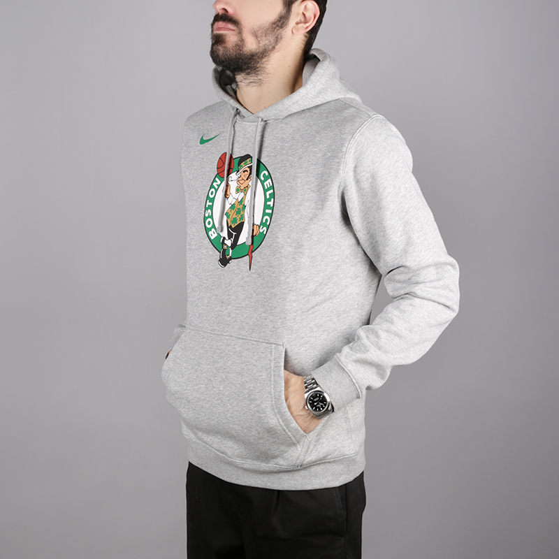 мужскую серую  толстовка nike boston celtics logo hoodie AA3649-063 - цена, описание, фото 3