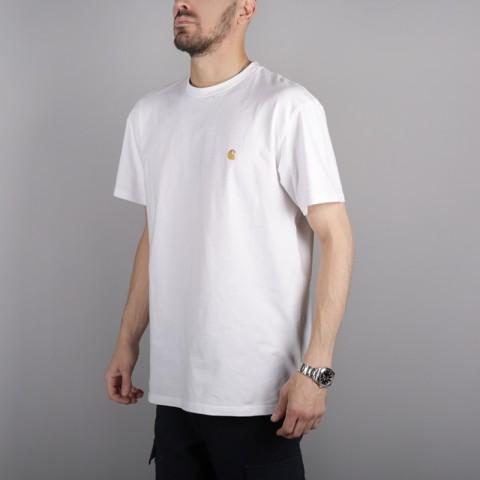 мужскую белую  футболка carhartt wip s/s chase t-shirt i026391-white/gold - цена, описание, фото 3