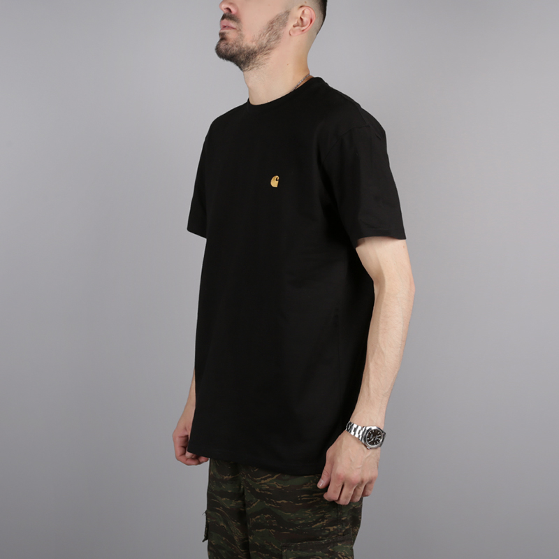 мужскую чёрную  футболка carhartt wip s/s chase t-shirt i026391-black/gold - цена, описание, фото 3