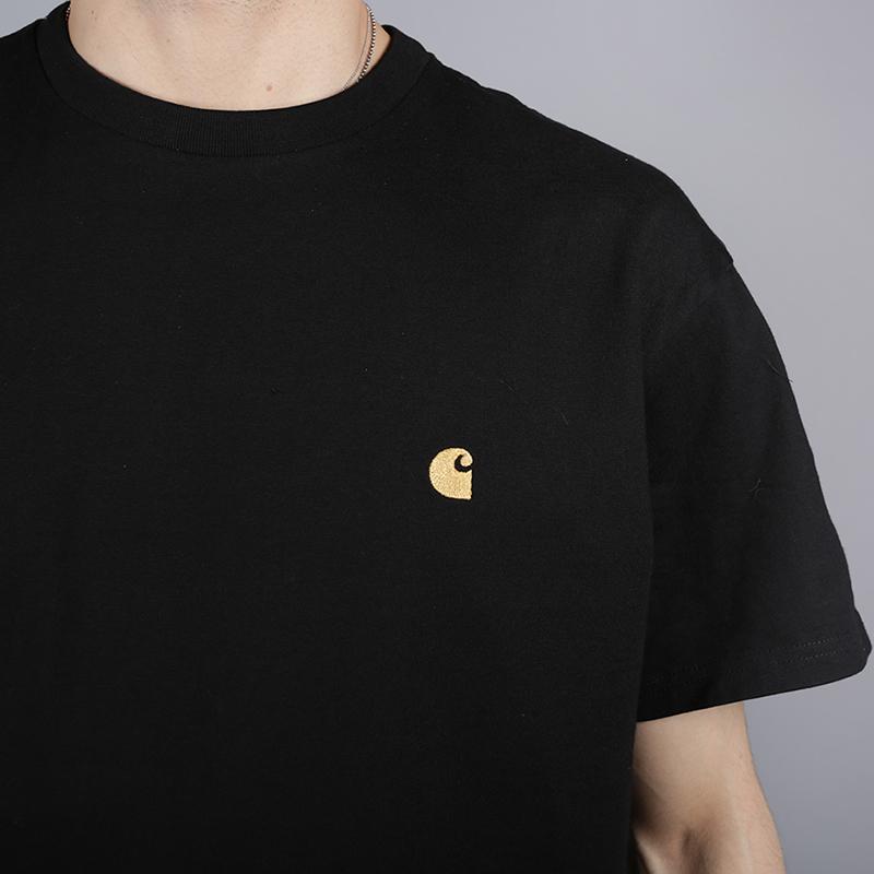 мужскую чёрную  футболка carhartt wip s/s chase t-shirt i026391-black/gold - цена, описание, фото 2