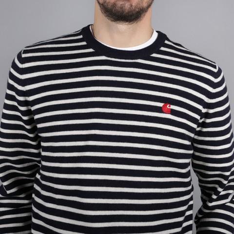 мужской синий  свитер carhartt wip roble sweater i025740-dr-navy/snow - цена, описание, фото 4