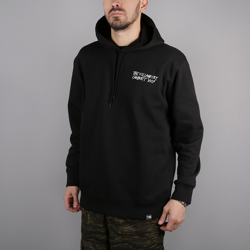 мужскую чёрную  толстовка carhartt wip hooded tvc paris sweat i025494-black/white - цена, описание, фото 1