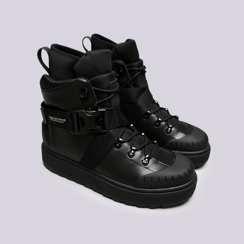 мужские чёрные  ботинки puma ren boot o.moscow 36710001 - цена, описание, фото 3