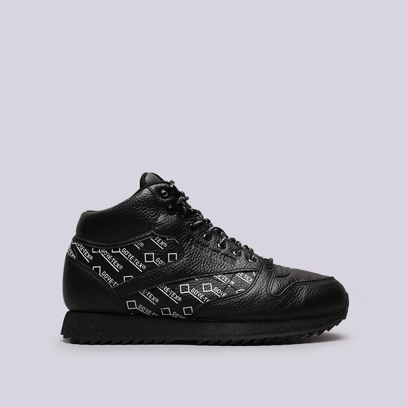 мужские чёрные  кроссовки reebok classic leather mid ripple gtx CN3949 - цена, описание, фото 1