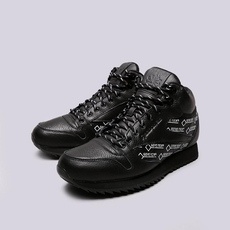 мужские чёрные  кроссовки reebok classic leather mid ripple gtx CN3949 - цена, описание, фото 3
