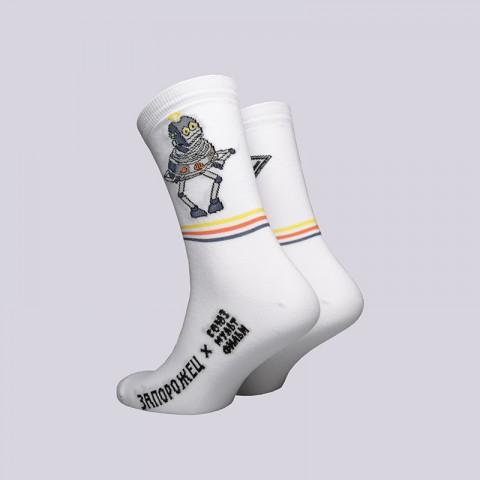 мужские белые  носки запорожец heritage тайна третьей планеты Робот-белый - цена, описание, фото 2