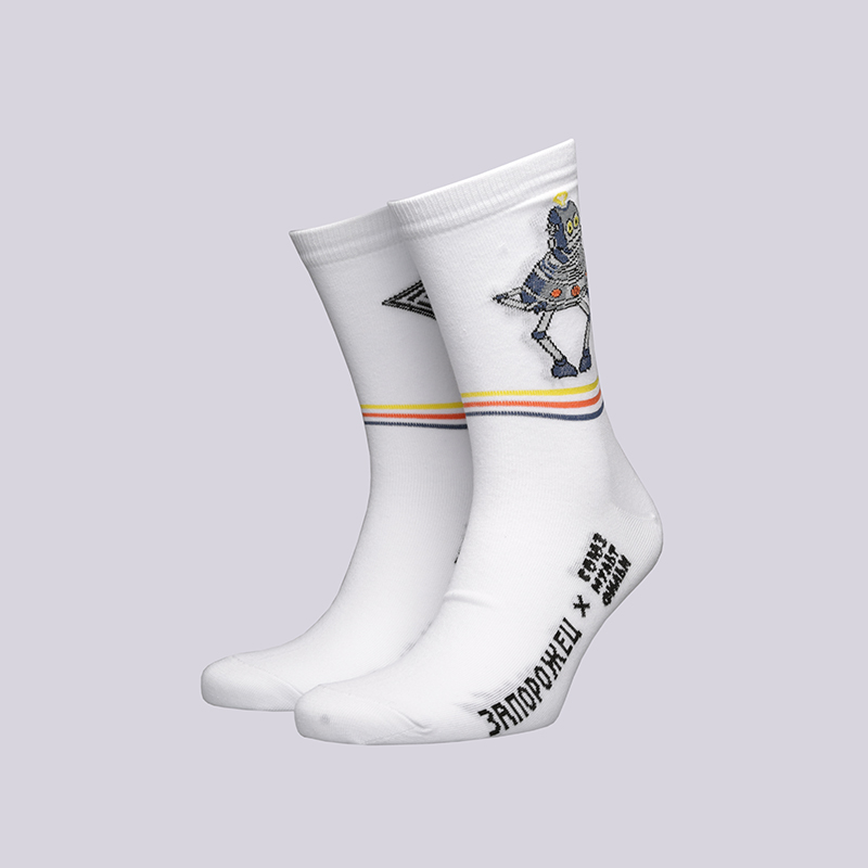 мужские белые  носки запорожец heritage тайна третьей планеты Робот-белый - цена, описание, фото 1