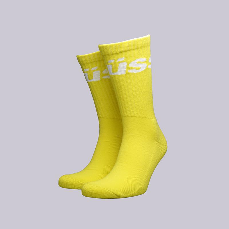 жёлтые  носки stussy jacquard logo 138603-yellow - цена, описание, фото 1