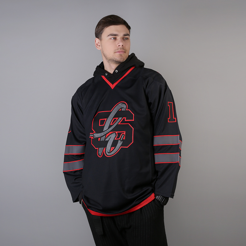 мужской чёрный  хоккейный свитер sneakerhead shd jersey Jersei snkrh - цена, описание, фото 1