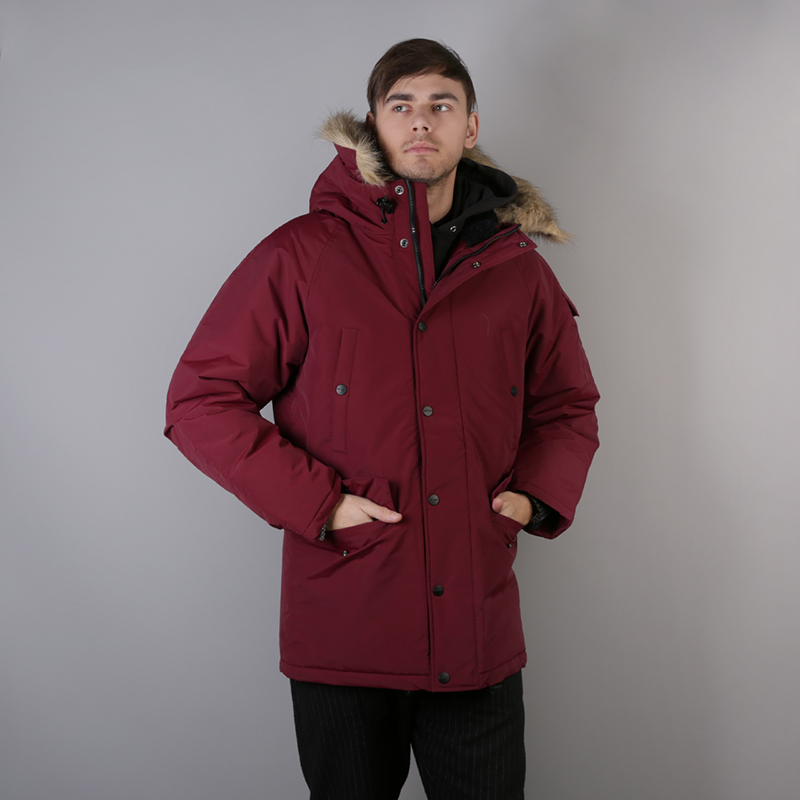 мужскую бордовую  куртку carhartt wip anchorage parka I000728-mulberry/blk - цена, описание, фото 1