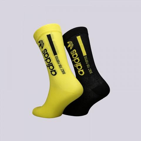 мужские жёлтые, чёрные  носки adidas sock 2pp crew DM1697 - цена, описание, фото 2