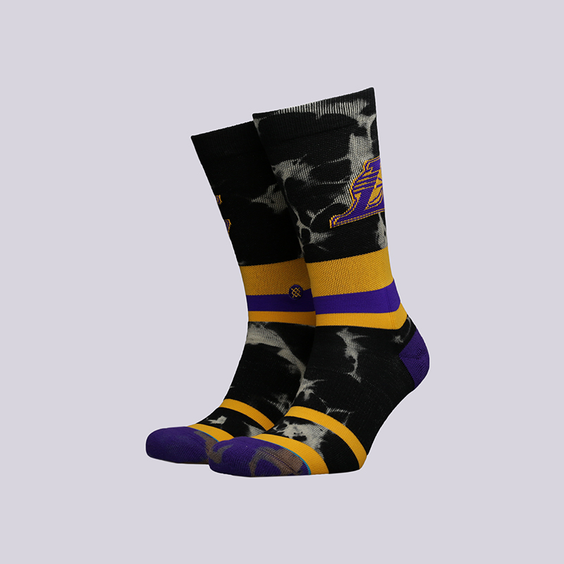 мужские чёрные  носки stance lakers acid wash M558C18LAK-yellow - цена, описание, фото 1