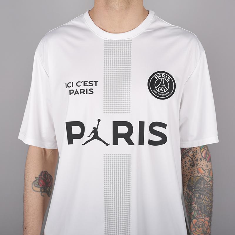 мужскую белую  футболка jordan psg tee AQ7292-100 - цена, описание, фото 2