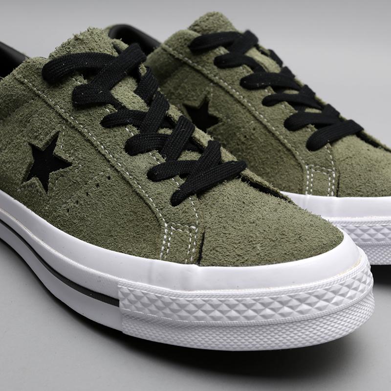 мужские зелёные  кроссовки converse one star ox 163249 - цена, описание, фото 5