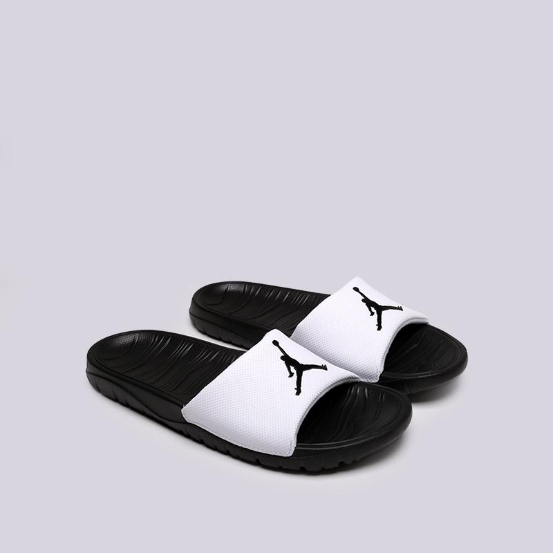 мужские чёрные, белые  сланцы jordan break slide AR6374-100 - цена, описание, фото 2