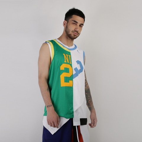мужскую белую, зеленую  майку nike nikelab collection basketball jersey AR5863-100 - цена, описание, фото 1